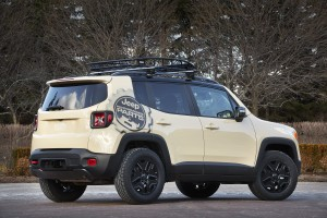 The Renegade Desert Hawk is powered by the 2.4-liter Tigershark engine with MultiAir2 mated to a nine-speed automatic transmission with Jeep Active Drive Low.  The Desert Hawk will also have off-road rock rails and a skid plate kit. Also featured are Mopar's  trailer hitch receiver and roof rack.