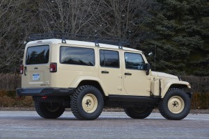 The Jeep Wrangler Africa is outfitted with a two-inch lift kit with Fox shocks, sway bar links and front and rear Dana 44 axles from Jeep Performance Parts.  The Africa is powered by a 2.8-liter diesel engine mated to an automatic transmission.