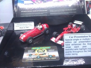 Hornby Centre Scalextric Cars Maserati M250F and Ferrari 375