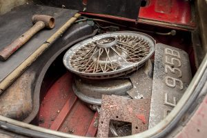 1964 Jaguar 3.8 E-Type barn find spare wheel