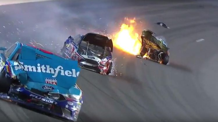 Big NASCAR crash at Kansas Speedway collects Patrick, Logano and Almirola