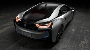 The 2018 BMW i8 Coupe Rear 3Q
