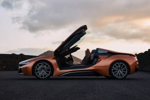 The 2018 BMW i8 Roadster Doors Open