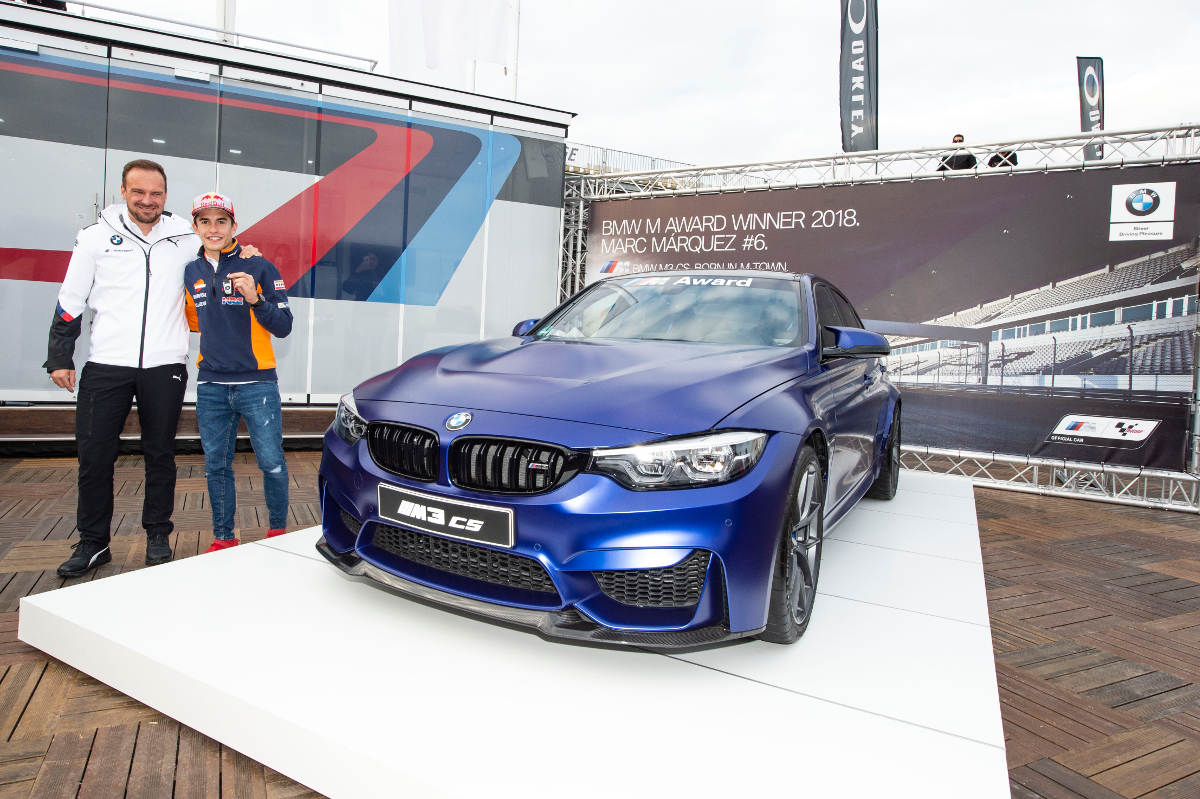 Marc Marquez Receives His 2018 BMW M3 CS From BMW President Markus Flasch